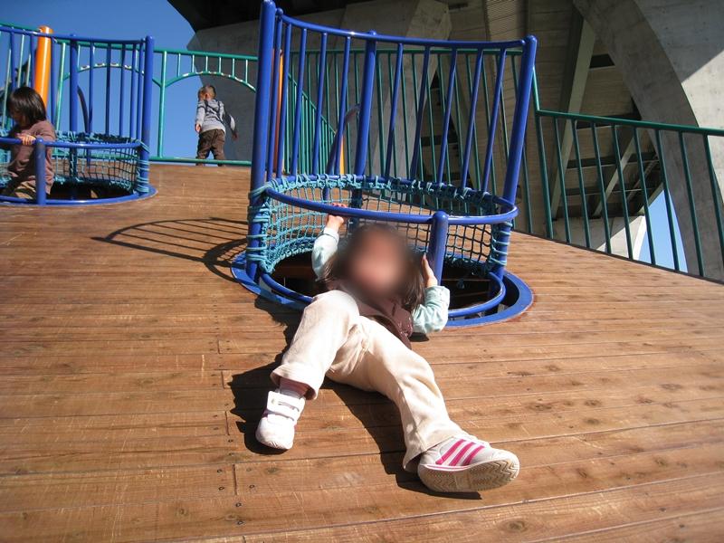 木の板の斜面を滑ろうとしている子供