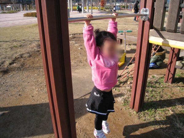 狩野川リバーサイドパークの鉄棒にぶら下がる子供