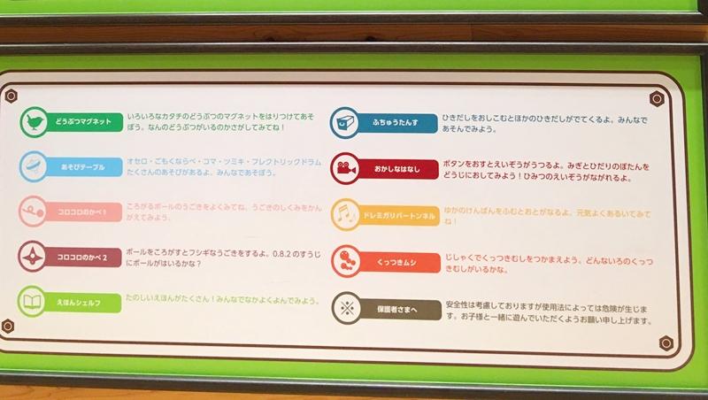 9種類のカラーであそび場の説明が書かれている