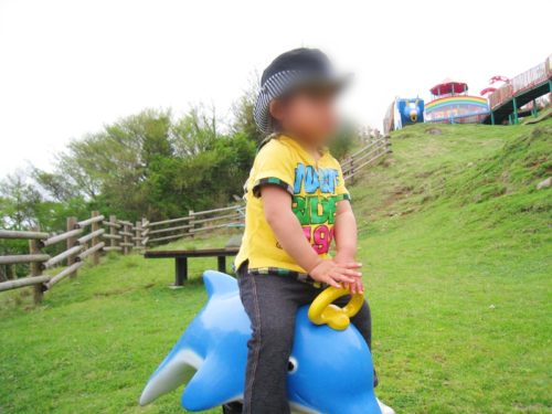 モーモーキッズランドのイルカの遊具で遊ぶ子供