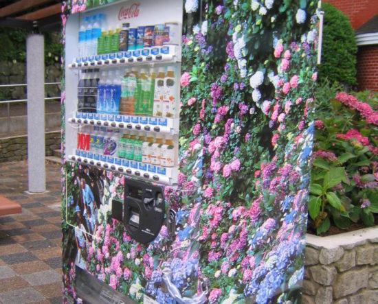 あじさいの写真が貼ってある下田公園の自動販売機