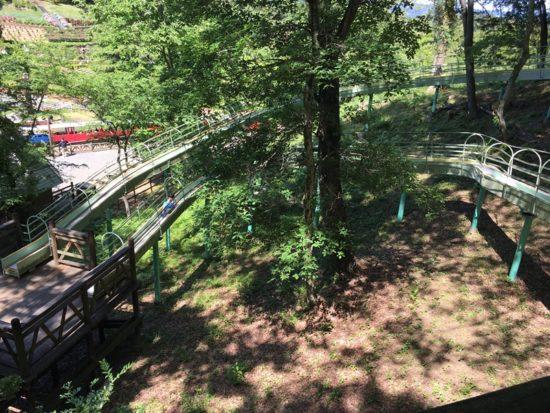 虹の郷のローラー滑り台と緑の木々