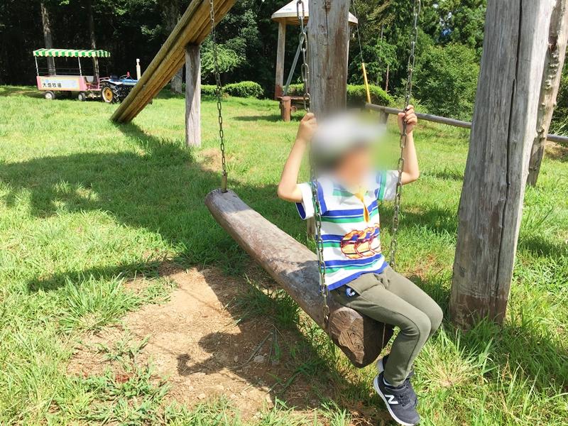 木のブランコに座る子供