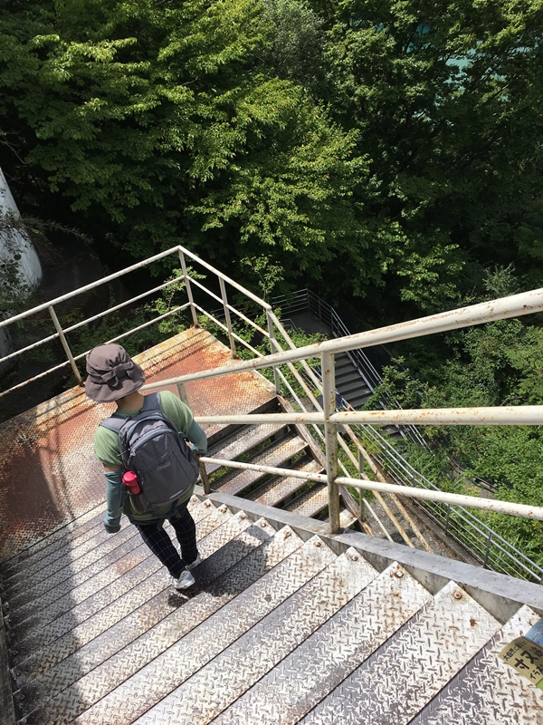 急な階段を下りる人