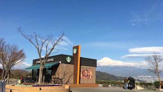 富士川SAスタバと富士山